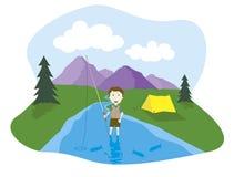 Boy flyfishing. Vector illustration of a boy flyfishing Royalty Free Stock Image