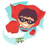 Boy Flying as Super Hero. Vector Illustration of a Boy Flying as Super Hero Royalty Free Stock Photo