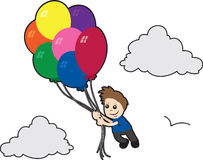 Boy Flying with Balloons Royalty Free Stock Images