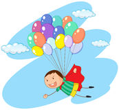 Boy flying with balloons in sky. Illustration Royalty Free Stock Images