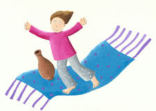 Boy on a flying carpet. Acrylic illustration of a Boy on a flying carpet Stock Photography