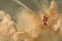 Boy flying in the cloudy sky with jet pack rocket Stock Photos