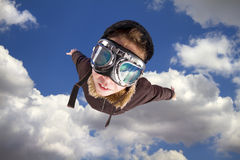 Boy flying, daydreaming he´s a pilot Royalty Free Stock Images