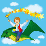 Boy flying on dinosaur. Boy flies on a green dinosaur in the blue sky Stock Photography