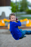 Boy on flying fox Royalty Free Stock Photography