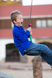 Boy on flying fox Royalty Free Stock Image