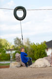 Boy on flying fox Royalty Free Stock Photography