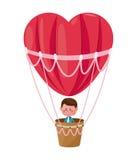 Boy flying heart airballoon valentine day Royalty Free Stock Photos
