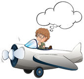 Boy flying jet plane in the sky. Illustration Royalty Free Stock Photo