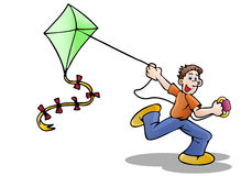 Boy Flying a Kite Royalty Free Stock Photography