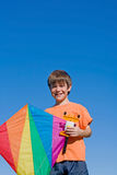 Boy Flying a Kite Royalty Free Stock Image