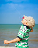 Boy flying kite at the beach Royalty Free Stock Photography