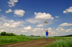 Boy flying a kite in a field Royalty Free Stock Image