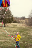 Boy flying kite Royalty Free Stock Images