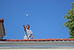 Boy Flying Paper Airplane Royalty Free Stock Photo