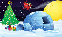 Boy in flying sleigh. Illustration of a boy flying in sleigh in christmas night Stock Image