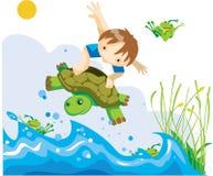 Boy on flying tortoise stock images