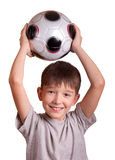 The boy with a football. Isolated on white Royalty Free Stock Photos
