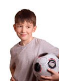 The boy with a football. Isolated on white Royalty Free Stock Photography