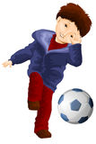 Boy football ball clipart cartoon style  illustration Royalty Free Stock Images