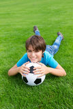 Boy with  football ball Stock Images