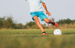 Boy on the football training Stock Photos
