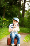 Boy in the forest Royalty Free Stock Image