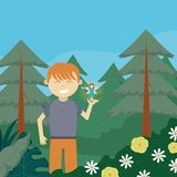 Boy in the forest cartoon royalty free illustration