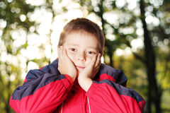 Boy in forest hands at face Royalty Free Stock Image
