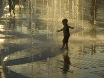 Boy in fountain. Centennial Olympic Park, Atlanta stock photo