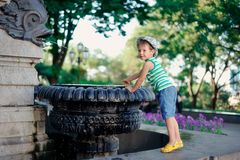 The boy at a fountain Royalty Free Stock Photography