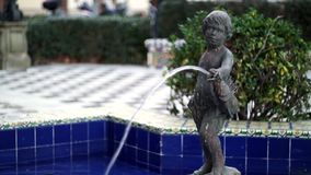 Boy Fountain Promenade Cadiz Spain stock video footage