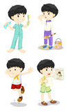 Boy in four poses Royalty Free Stock Image