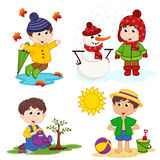 Boy and the four seasons. Vector illustration, eps Royalty Free Stock Photo