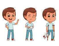 Boy with fractured arm/leg  on white background Royalty Free Stock Image