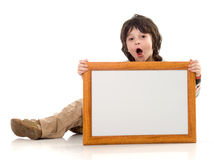 The boy with a frame Royalty Free Stock Image