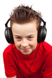Boy with freckle and headphones Royalty Free Stock Image