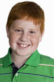 Boy with freckles and ginger hair, smiling, close-up, front view, portrait, cut out Stock Photography