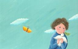 Boy and freedom dove. Acrylic illustration of boy and freedom dove Stock Photo