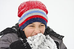Boy Freezing in Snow Royalty Free Stock Photography