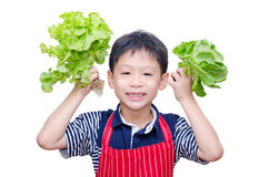 Boy with fresh vegetable Royalty Free Stock Photos