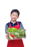 Boy with fresh vegetable Stock Images