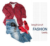 Boy friend trendy look costume on white background Royalty Free Stock Photo