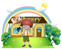 A boy in front of the library in the hilltop Stock Photography