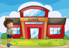A boy in front of the school building. Illustration of a boy in front of the school building Stock Photos
