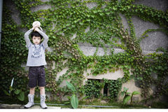 Boy in front of wall. A lovely boy stands in front of a wall with grass Stock Images