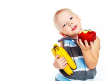 Boy with fruit Royalty Free Stock Image