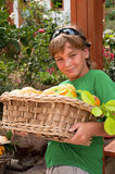 Boy with fruit basket . Royalty Free Stock Photos