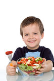 Boy with fruit salad Stock Photo
