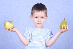 Boy and fruits Stock Photo